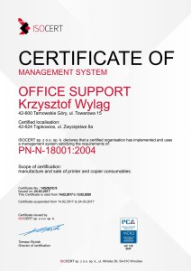 Certyfikat ENG 18001