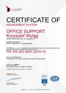 Certyfikat ISO ENG 9001